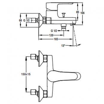 Смеситель для ванны/ душа Jacob Delafon - July (E16031-4-CP)
