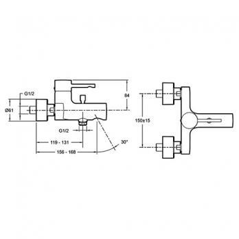 Смеситель для ванны / душа Jacob Delafon - Cuff (E45532-CP)