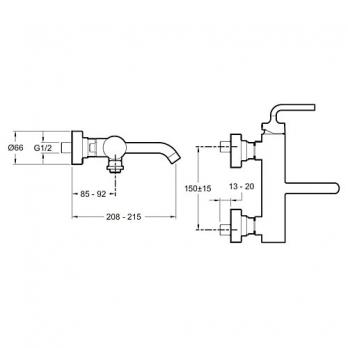 Смеситель для ванны / душа Jacob Delafon - Purist (E14589-4A-CP)