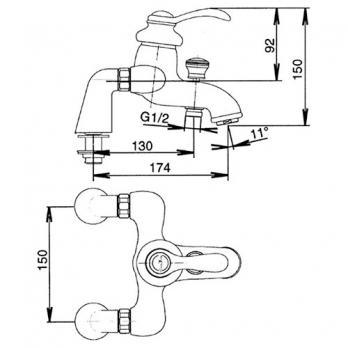 Смеситель для ванны/ душа Jacob Delafon - Fairfax (E71091-CP)