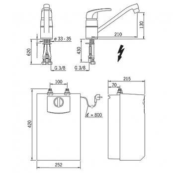 Смеситель для кухни с водонагревателем Oras - Safira (1023F)