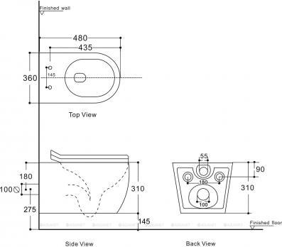 Унитаз подвесной Aquanet Rimless CETUS W Short LX-1900 микролифт укороченный