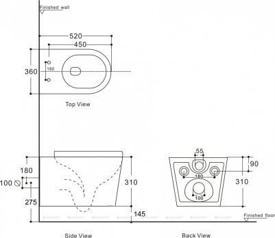 Унитаз подвесной Aquanet Rimless ATAGO 2.0 LX-1905 микролифт SLIM
