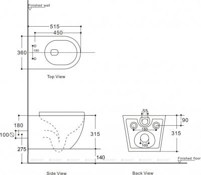 Унитаз подвесной Aquanet Rimless CETUS 2.0 W LX-1901 микролифт SLIM