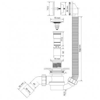 Обвязка для ванны Mc Alpine MRB12 Click-Clack легкая прочистка гидрозатвора через слив