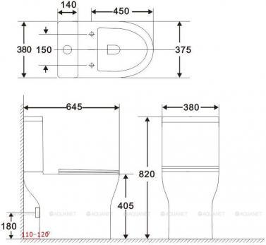 Унитаз напольный Aquanet Rimless Roll 2-C CL-12289 микролифт SLIM с бачком
